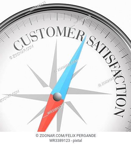 detailed illustration of a compass with Customer Satisfaction text, eps10 vector