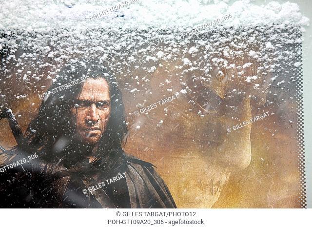 France, ile de france, paris 5th arrondissement, Snow, Snowy, Snowing, December 2009, Boulevard Saint Michel, Detail of an advertising for the film Solomon Kane