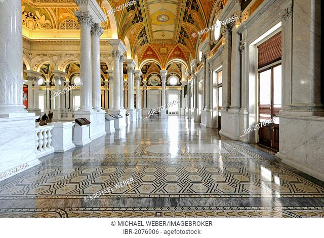Marble columns, marble arch, frescoes, mosaics, in the magnificent entrance hall, The Great Hall, The Jefferson Building, Library of Congress, Capitol Hill