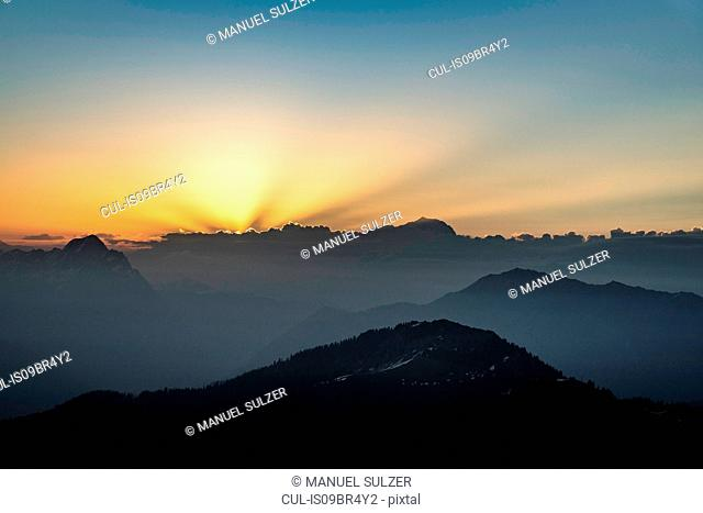 Sunset over French Alps, Parc naturel régional du Massif des Bauges, Chatelard-en-Bauges, Rhone-Alpes, France