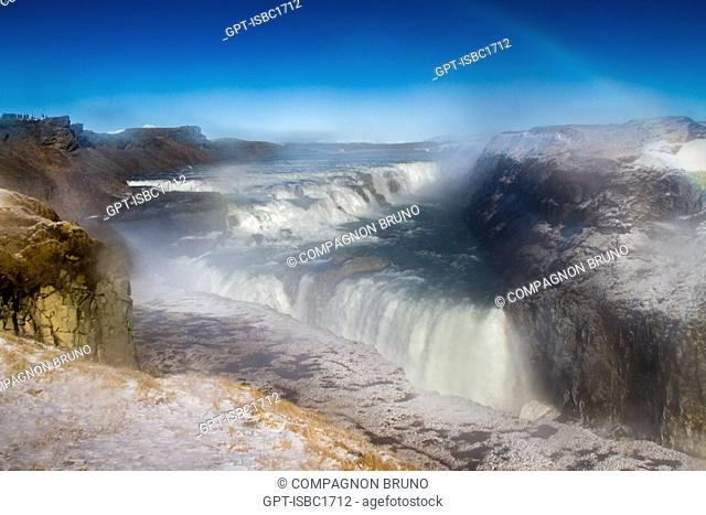 RAINBOW OVER A WATERFALL, GULLFOSS WATERFALL, GOLDEN FALLS, GOLDEN CIRCLE, SOUTHERN ICELAND, EUROPE, ICELAND
