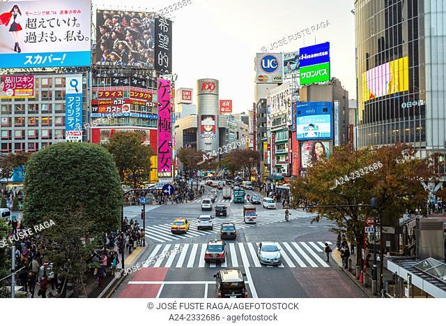 Japan , Tokyo City,Shibuya District, Hachiko Crossing,