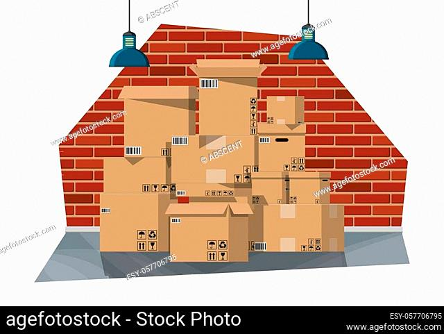 Warehouse interior with goods and container package boxes. Pile cardboard boxes set. Carton delivery packaging open and closed box with fragile signs
