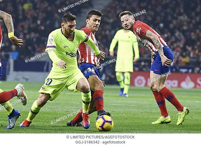 Lionel Messi (forward; Barcelona) before La Liga match between Atletico de Madrid and F.C. Barcelona at Wanda Metropolitano on November 24, 2018 in Madrid