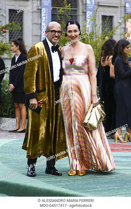 Alessandro Maria Ferreri and Tina Harf attend the Green Carpet Fashion Awards at Piazza della Scala during the Milano Fashion Week