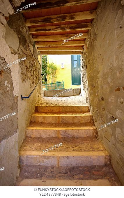 Narrow fortification passages of Ano Syros, Syros Island  S  , Greek Cyclades Islands