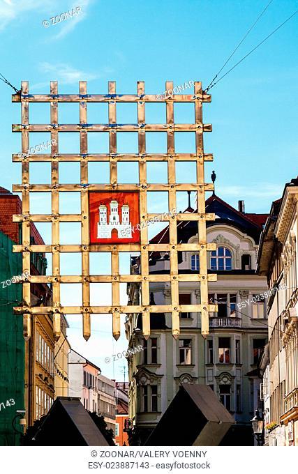 Bratislava city - town emblem on grille gate