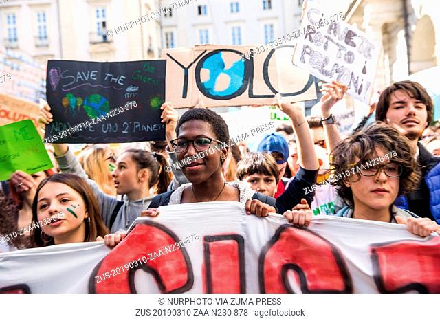 March 10, 2019 - Turin, ITALY, Italy - Thousands of students marched in Turin, Italy, on March 15, 2019 during the FridaysForFuture event created by Swedish...