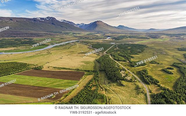 Farmland, Fljotsdalur valley, Eastern, Iceland. This image is shot using a drone