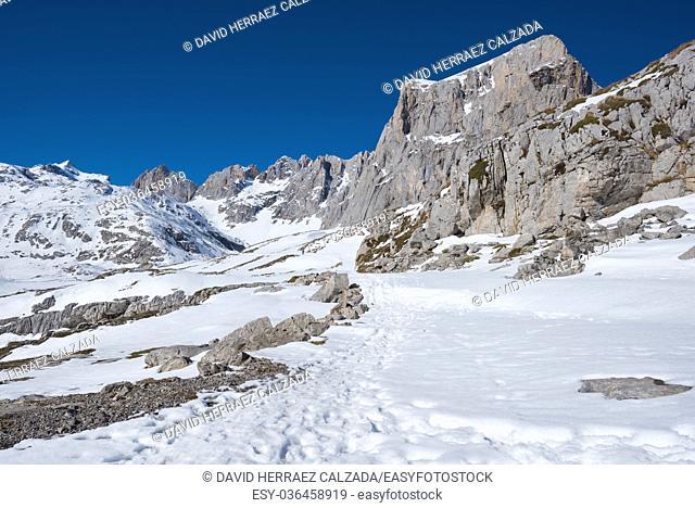Winter Landscape in Picos de Europa mountains, Cantabria, Spain