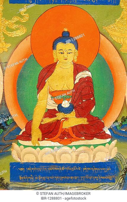 Tibetan Buddhism, colorful mural depicting the Buddha in meditation, Bhumisparsha Mudra, Bhumisparshamudra summoning mother earth, Palace of Panchen Llama