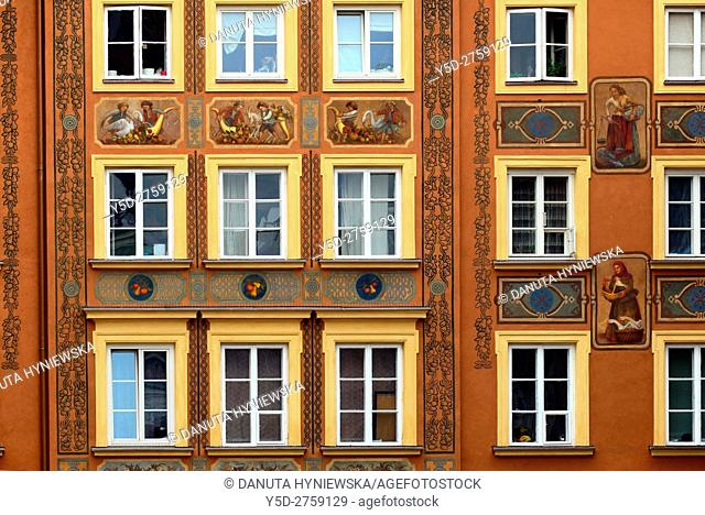 Close-up of facade, Szeroki Dunaj street, Old Town of Warsaw, UNESCO Heritage, Warsaw, Poland, Europe