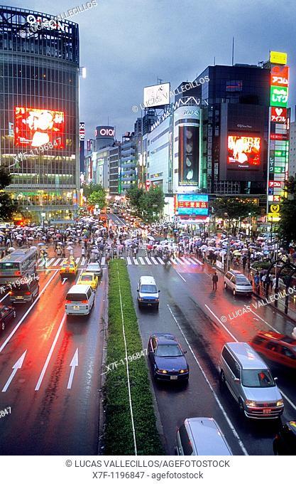 Shibuya Scramble Kousaten crossing in Hachiko square  Tokyo city, Japan, Asia