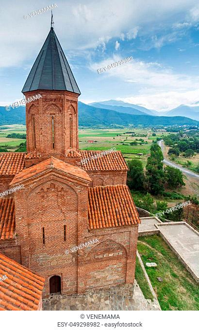 Church of the Archangels and Caucasus mountains in Kakheti, Georgia
