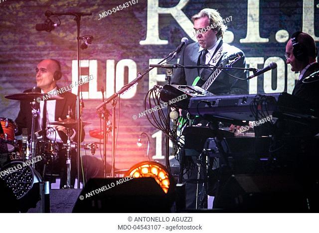 Italian rock band Elio e le Storie Tese ( Elio, Rocco Tanica, Faso, Cesareo, Luca Mangoni, Christian Meyer, Antonello Aguzzi
