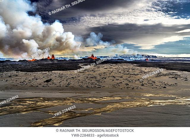 Lava and plumes from the Holuhraun Fissure by the Bardarbunga Volcano, Iceland. August 29, 2014 a fissure eruption started in Holuhraun at the northern end of a...
