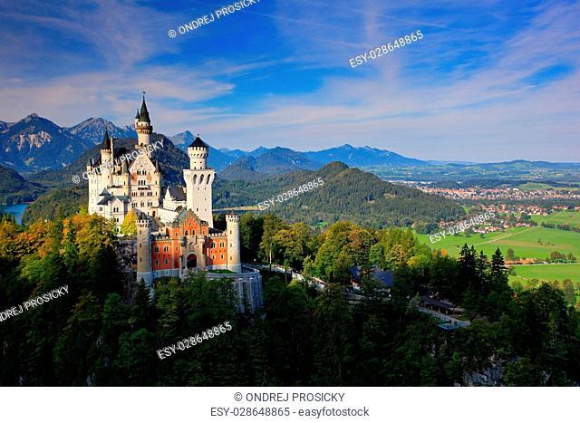 Famous fairy tale Neuschwanstein Castle in Bavaria, Germany