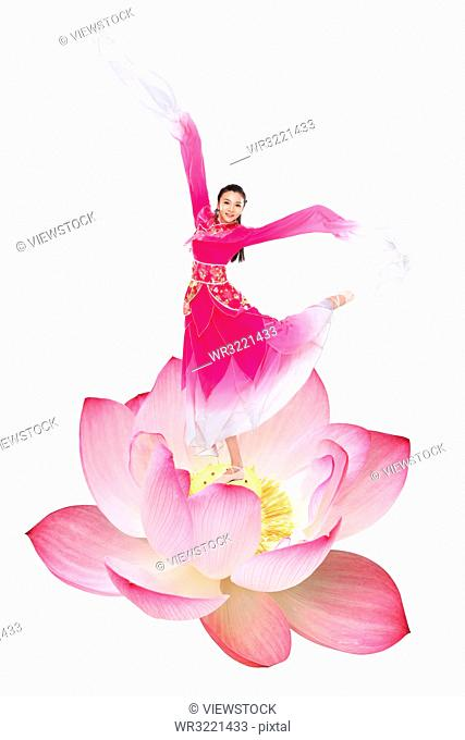 Dancing on the lotus flower woman