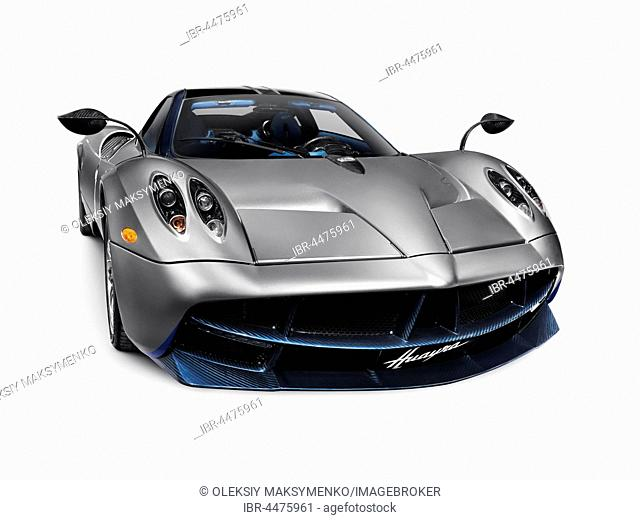 2016 Silver Pagani Huayra, exotic Italian sports car, supercar