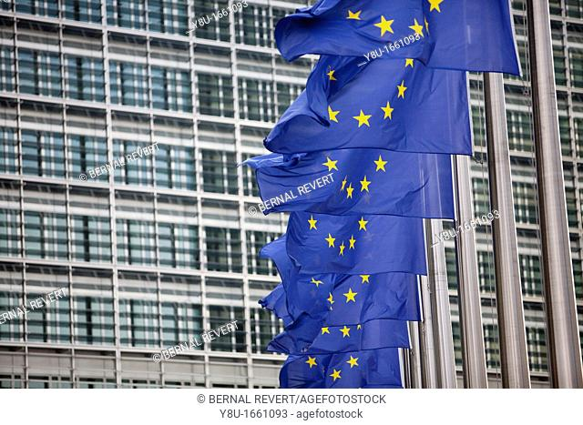 European flags wave next to the European Commission headquarters in Brussels, Belgium