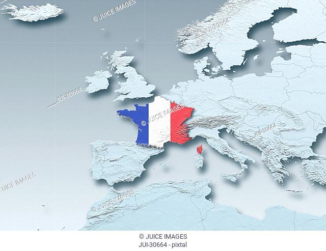 France, flag, map, Western Europe, grey, physical, grey, political