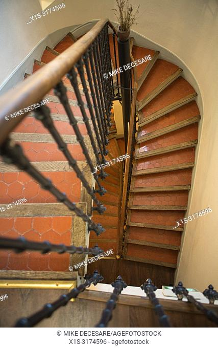 A winding staircase in the Hotel la Bellaudere in Grasse, France, lead guests to their rooms