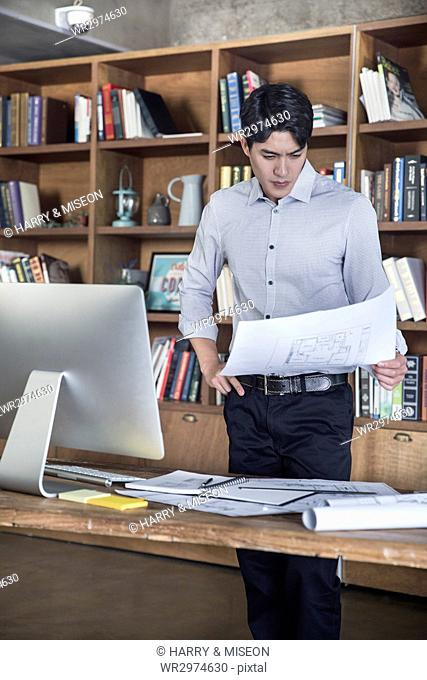 Male architect with papers at office