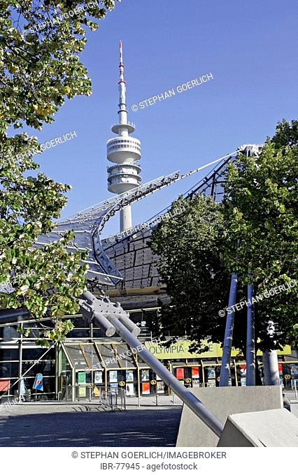 Munich, GER, 18. Oct. 2005 - Olympiahalle on the area of the olympic games 1972 in Munich, in background the Munich television tower