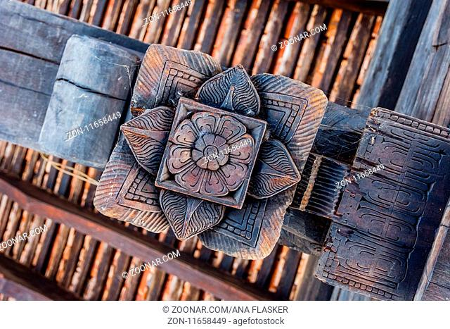 Wooden carving on the temple, Kandy, Sri Lanka