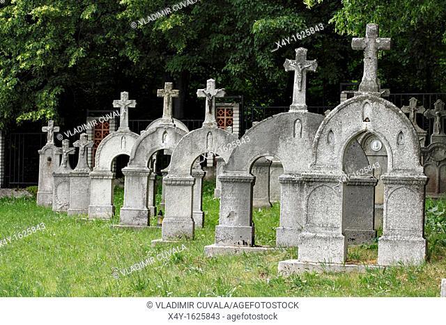 Old gravestones at the cemetery in Dobra Voda, Slovakia