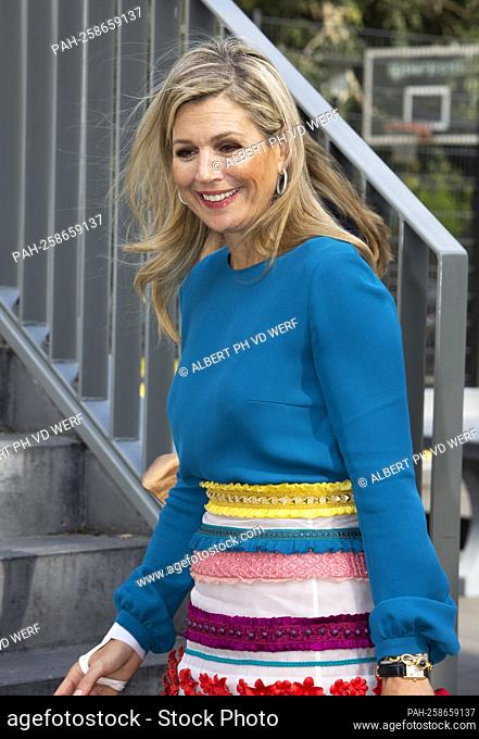 Queen Maxima of The Netherlands arrives at the Maris College Kijkduin in The Hague, on September 29, 2021, for a workvisit