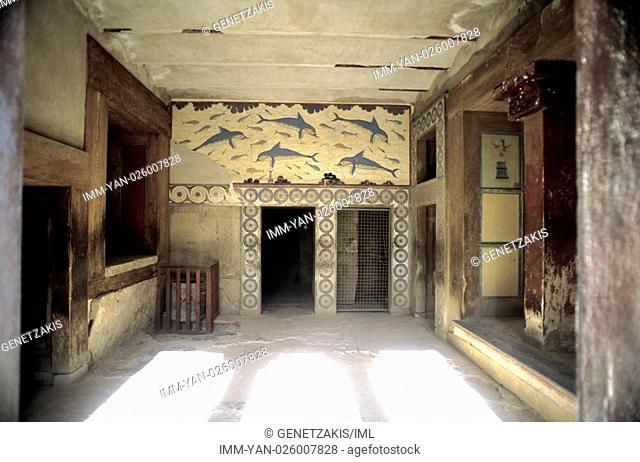 Palace of Knossos, dolphin fresco  Iraklio, Crete, Greece