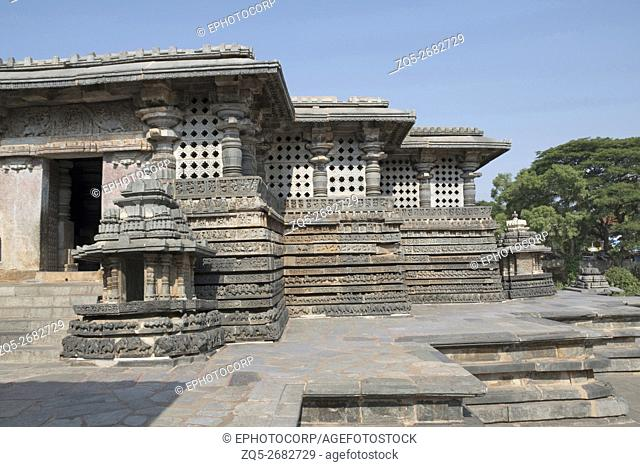 Small towers and walls at the eastern entrance of Hoysaleshvara Temple, Halebid, Karnataka, india, View from East
