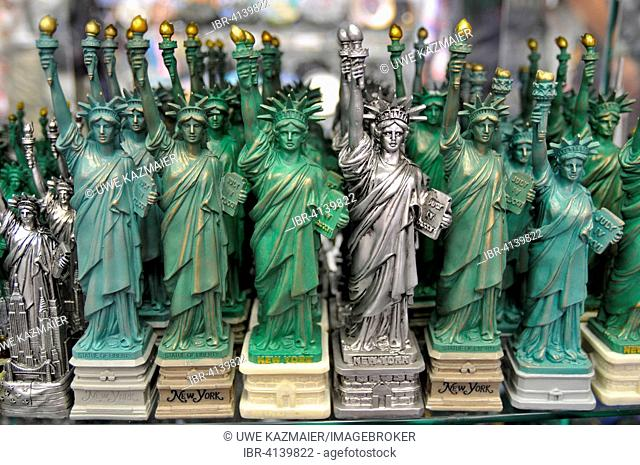 Statue of Liberty miniatures in shop, Manhattan, New York City, New York, USA