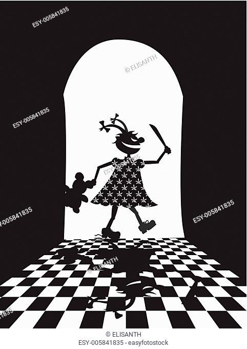 Vector illustration of evil girl