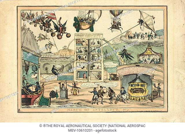Satirical cartoon, March of Intellect No. 2, showing various forms of transport including balloons and other flying machines