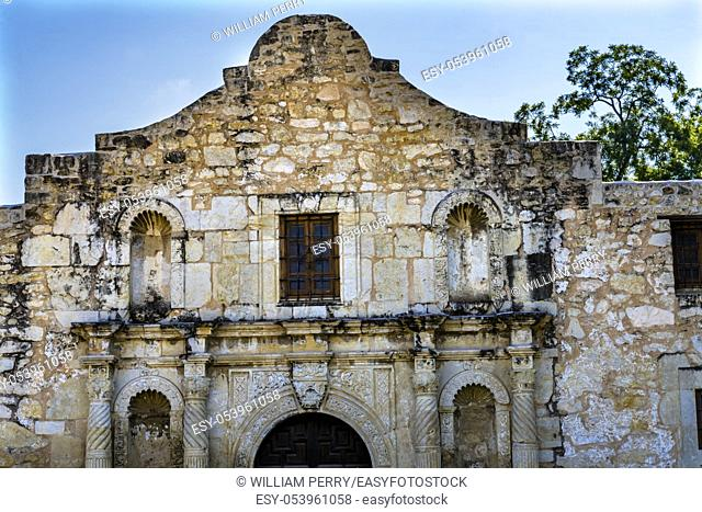 Alamo Mission San Antonio Texas. Site 1836 battle between Texas patriots, such as Travis, Bowie, and Crockett, killed by Mexican army and Santa Anna