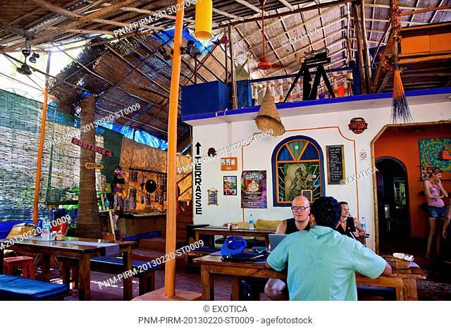 Interiors of a restaurant, Baba Au Rhum Restaurant, Opposite Uttam Resorts, Near Club Cubana, Arpora, Bardez, North Goa, Goa, India