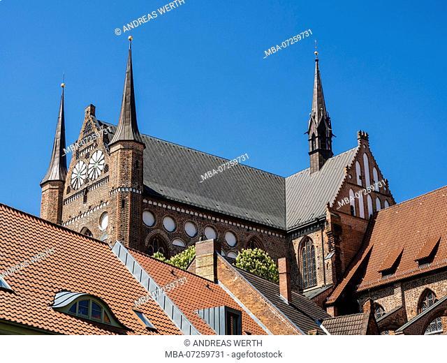 St. Georgen church, seen from park area at Fuerstenhof, Wismar, Mecklenburg-Vorpommern, Germany