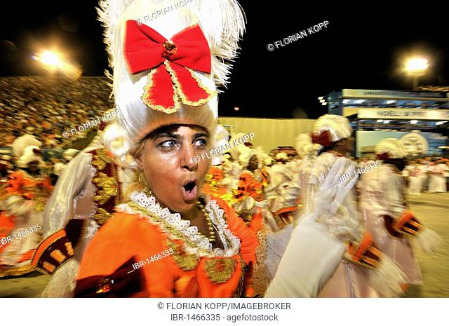 Unidos da Tijuca samba school, woman in Baroque costume at the Carnaval 2010, Sambodromo, Rio de Janeiro, Brazil, South America