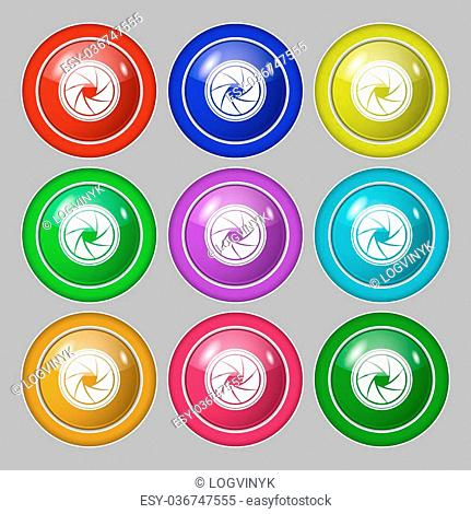diaphragm icon. Aperture sign. Symbol on nine round colourful buttons. Vector illustration