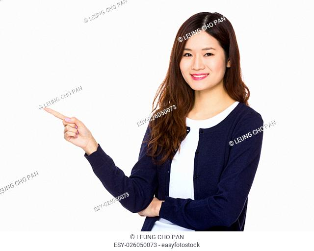 Asian Young Woman showing with finger point up