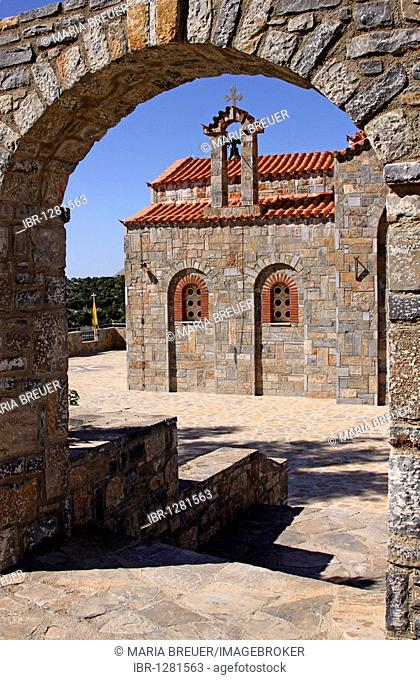 Church, mountain village Axos, Crete, Greece, Europe