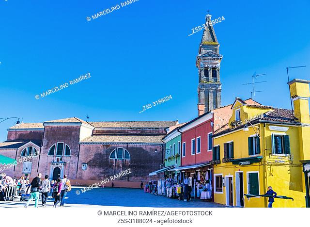The leaning campanile and colorful houses. Burano, Venice, Veneto, Italy, Europe