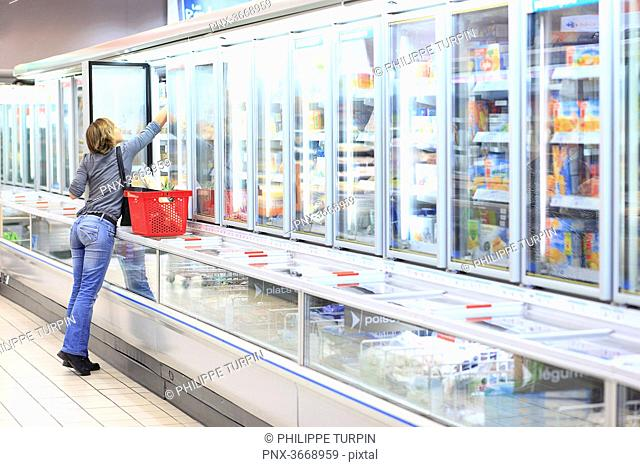 France, woman in a supermarket
