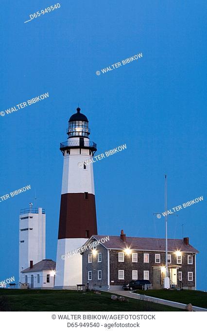 USA, New York, Long Island, Montauk, Montauk Point LIghthouse, dusk