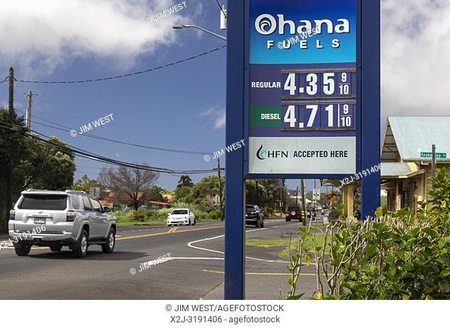 Waimea (Kamuela), Hawaii - High prices at a gas station on Hawaii's Big Island