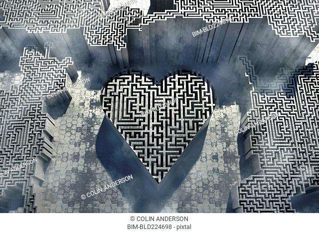 Maze inside three dimensional heart-shape symbol