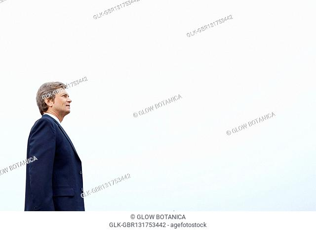 Low angle view of a businessman standing