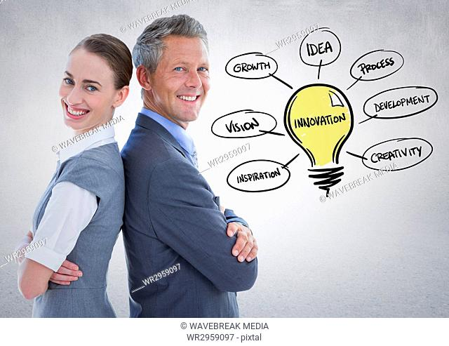 Business partners back to back with lightbulb doodles against white wall